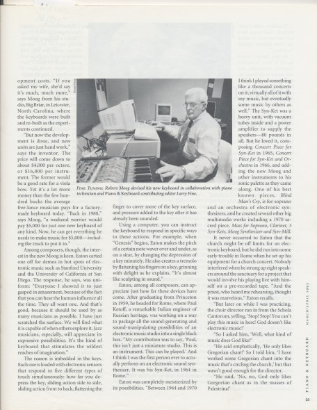 4-93 _And Moog Created Genesis_, Piano and Keyboard Magazine, photo of Bob, p.21
