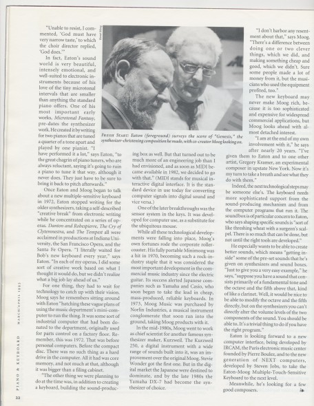 4-93 _And Moog Created Genesis_, Piano and Keyboard magazine, photo with Bob and John Eaton, p.22