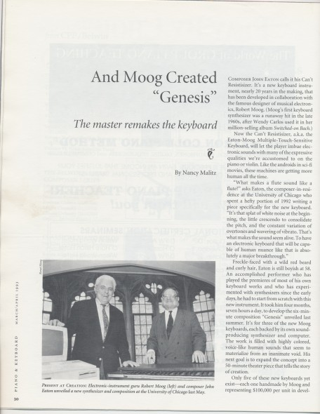 4-93 _And Moog Created Genesis_, article with Bob, Piano and Keyboard magazine, photo with Bob, p.20