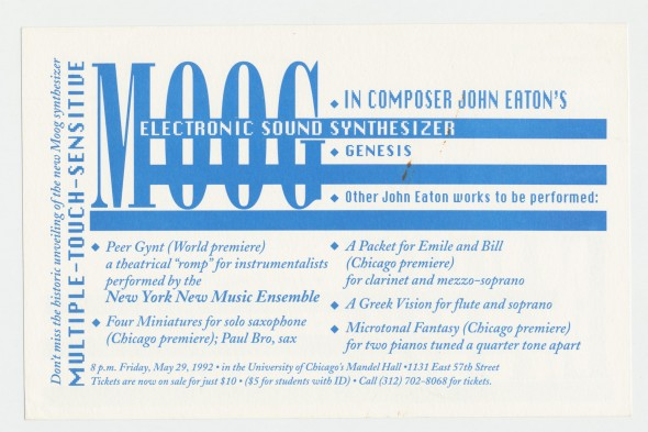 5-29-92 Moog Synth Concert by John Eaton, postcard announcement