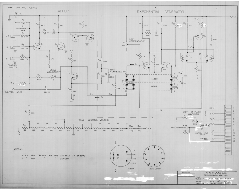 Bob Moog Schematics Release 1 For Our 8th Anniversary The Pass Filter Circuit Diagram High On Board Within 904 B Module This Particular Schematic Was Made In 1970 So It Must Have Been An Update To Design