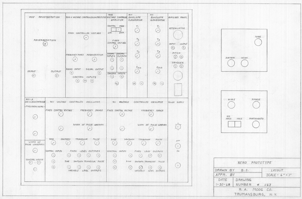 Peter Nero Prototype: This drawing is of the layout of the Peter Nero commission synthesizer.  It was drawn by Bob Moog in 1968. Peter Nero, a famous pianist, commissioned Bob Moog to create a synthesizer device for his use in concert.