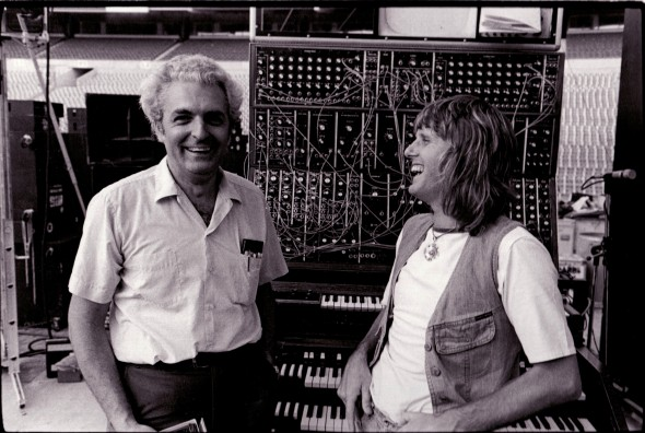 Bob Moog and Keith Emerson, Rich Stadium, Buffalo, 1973. Photo credit: Mark Hockman