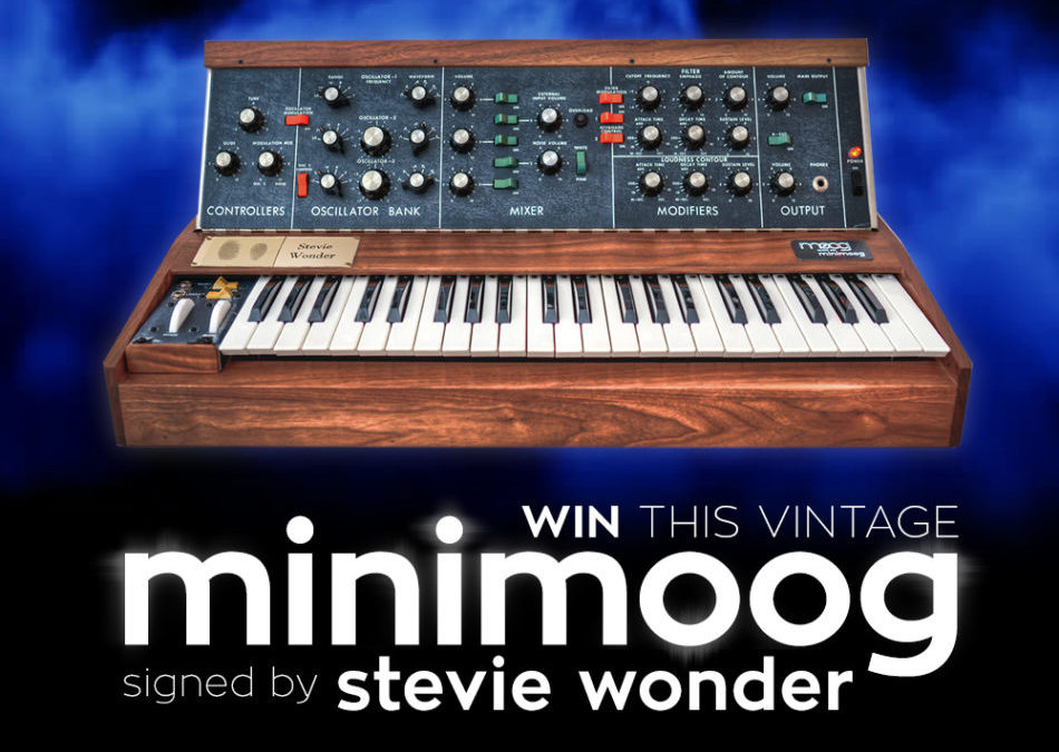 Announcing Spring 2019 Raffle for Vintage Minimoog Synthesizer Signed by Stevie Wonder!!