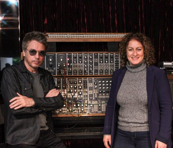 Jean-Michel and Michelle by his prized Moog modular synthesizer. One of many (many) synthesizers that grace his studio.