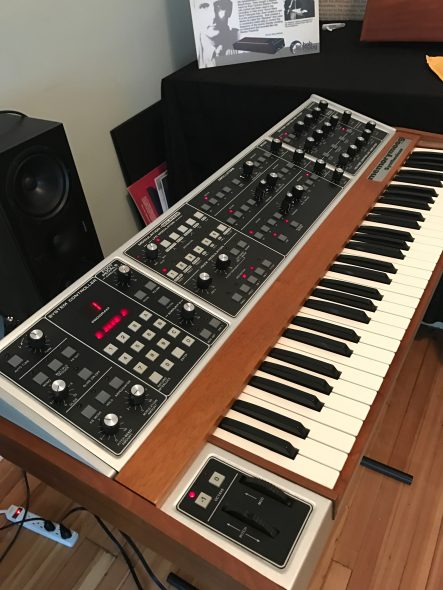 The Memorymoog Plus up and running on the day of delivery to the Foundation, April 21, 2017