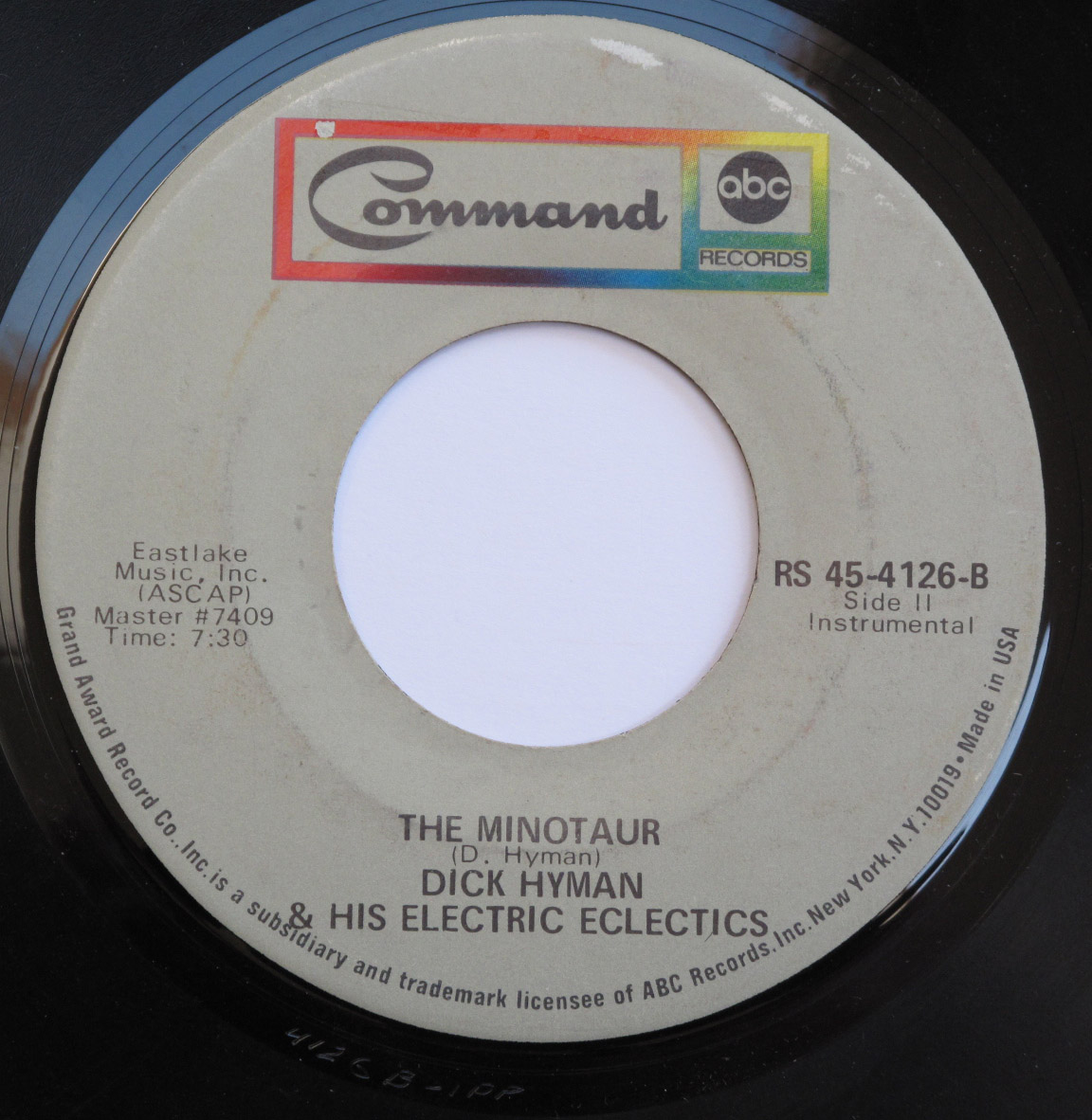 "Label for ""The Minotaur"" single, long version."