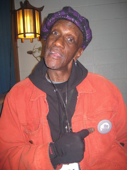 Moogfest 2010_Bernie Worrell_Pointing at BMF Pin